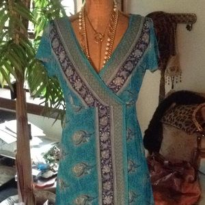 Silk wrap front dress turquoise print
